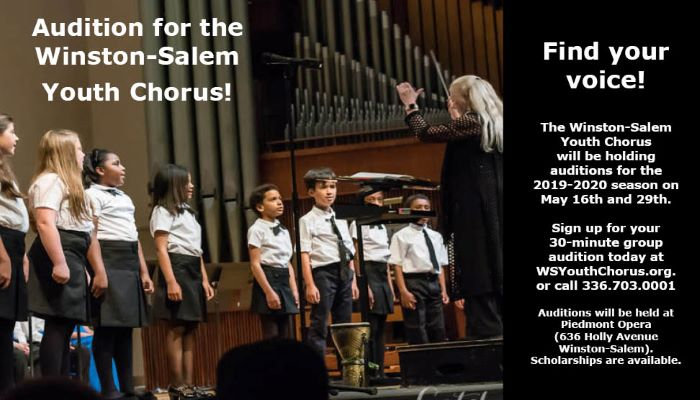 May 16 & 29, 2019: Open Auditions for Winston-Salem Youth Chorus